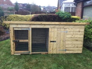 Compact Deluxe Pent Kennel With Run With Front Doo